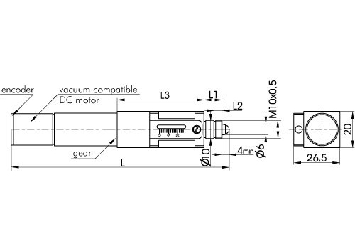 Ultra-High Resolution Compact Motorized Actuator with Vacuum Compatible DC motor 970-0067V