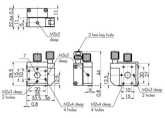 XZ Micro Translation Stage of Side Regulation 860-0102