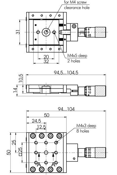 Ultra Low Profile Steel Translation Stages. Single and Two-Axes 860-0092