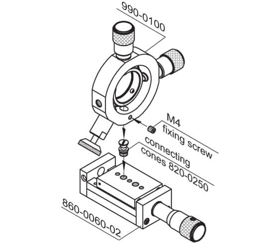 Y-Z Positioners for Lens, Pinholes, and Objectives 990-0100, 990-0200