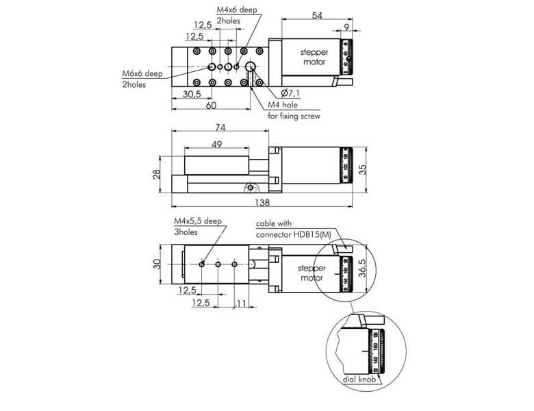 Narrow (width 30 mm) Motorized Translation Stages 960-0060